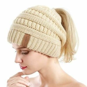 Ponytail Beanie Messy Bun Cable Knit Hat BEIGE